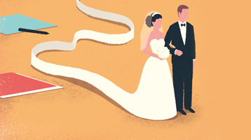 Illustration of a bride and groom and a calculator